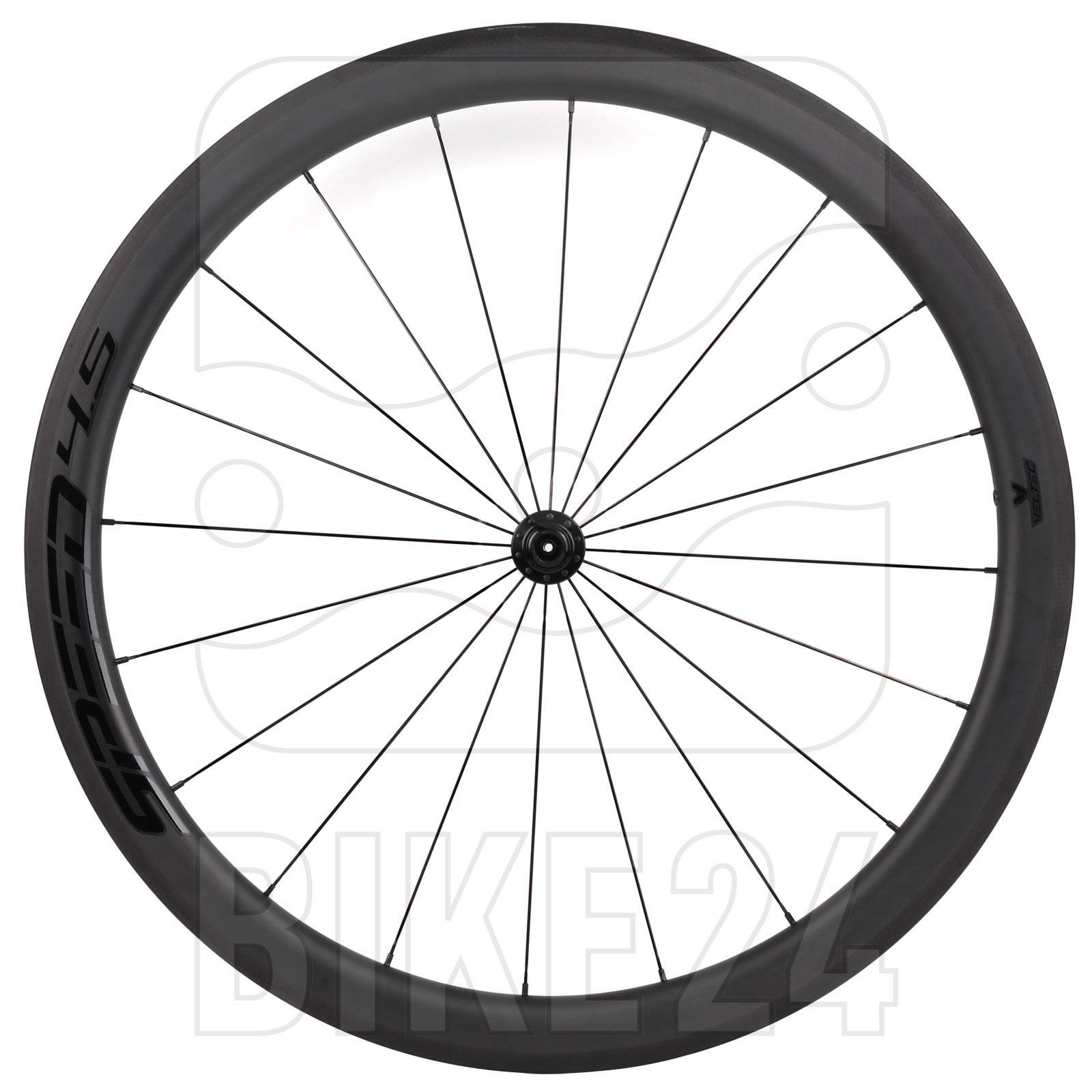 Veltec Speed 4.5 Carbon Vorderrad - Drahtreifen - QR100 - schwarz mit schwarzen Decals