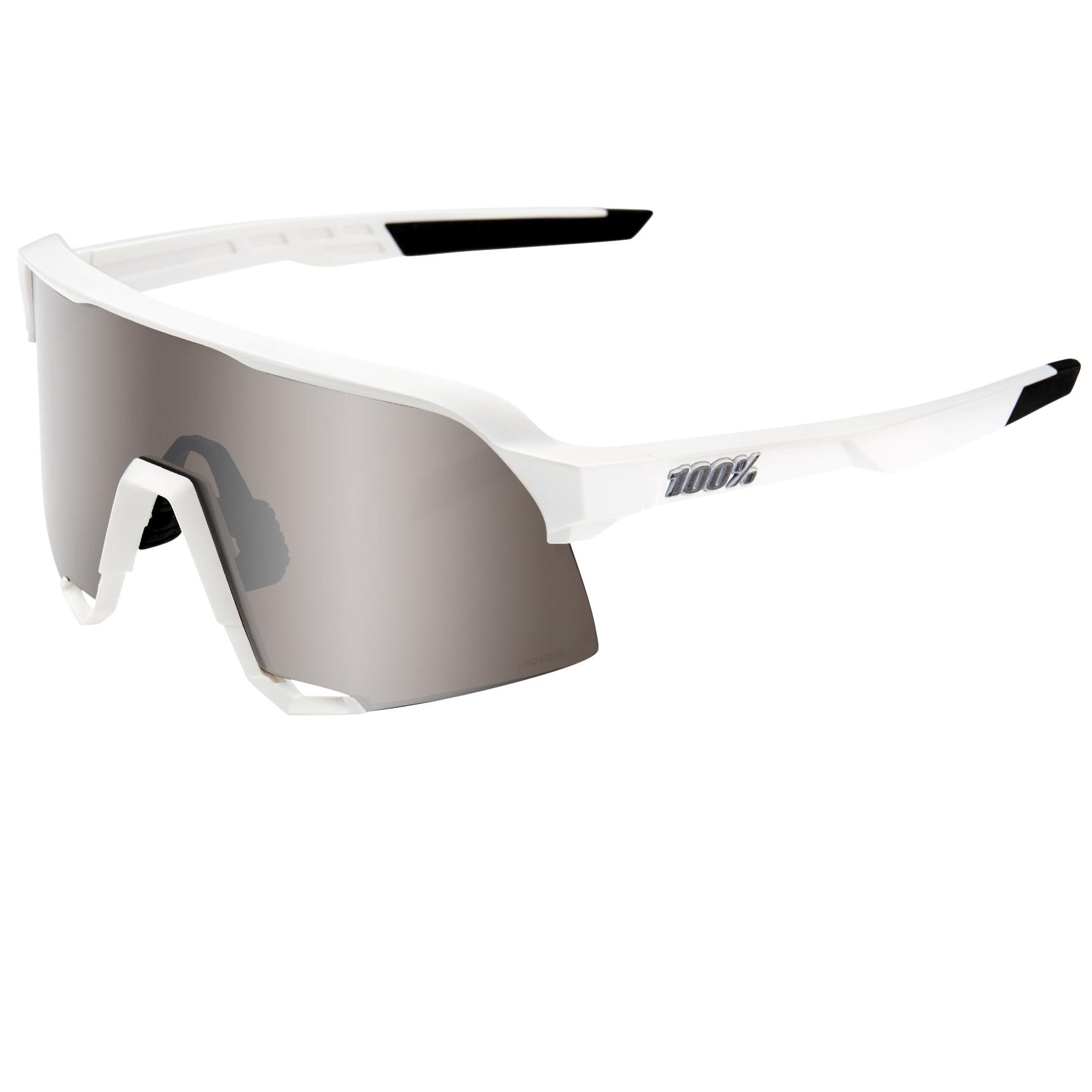 100% S3 HiPER Mirror Glasses - Matte White/Silver + Clear