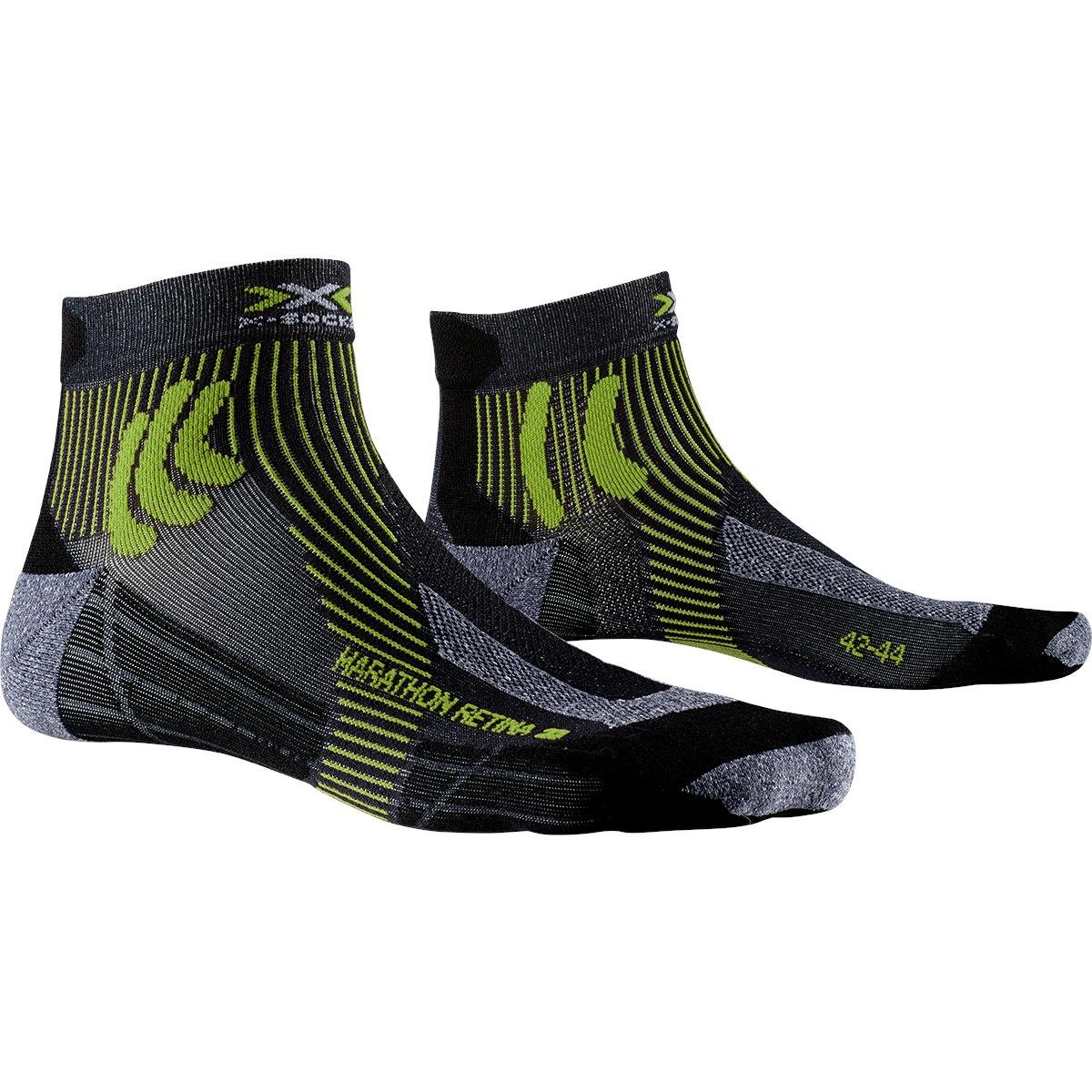 X-Socks Marathon Retina 4.0 Laufsocken - black melange/effektor green