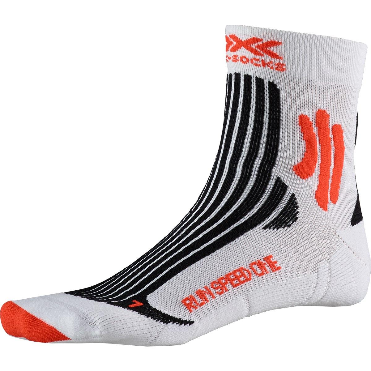 X-Socks Run Speed One Laufsocken - white/sunset orange
