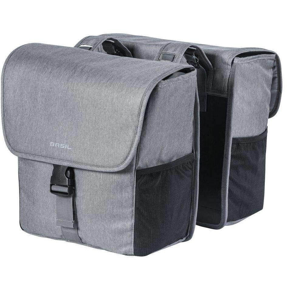 Basil GO-Double Bag Gepäckträgertasche - grau meliert