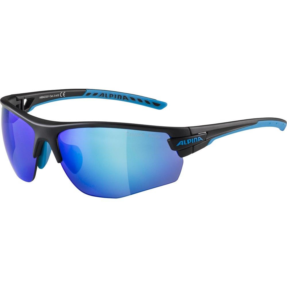 Alpina Tri-Scray 2.0 HR Glasses - black matt-cyan / Ceramic mirror blue + mirror orange + clear