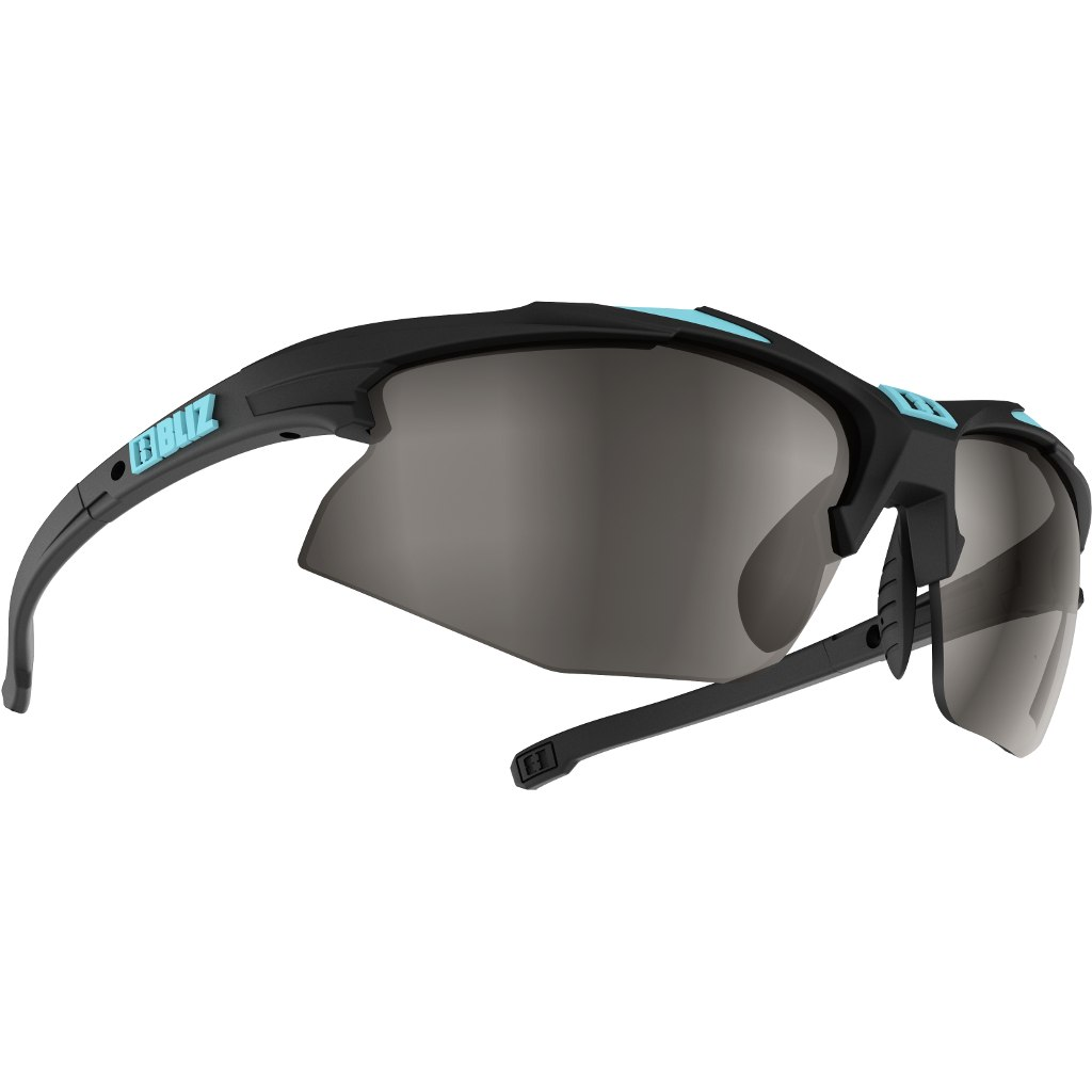 Bliz Hybrid Smallface Rubber Black-Rubber Turquoise-Blue / Smoke with Silver Mirror + Orange + Clear Glasses