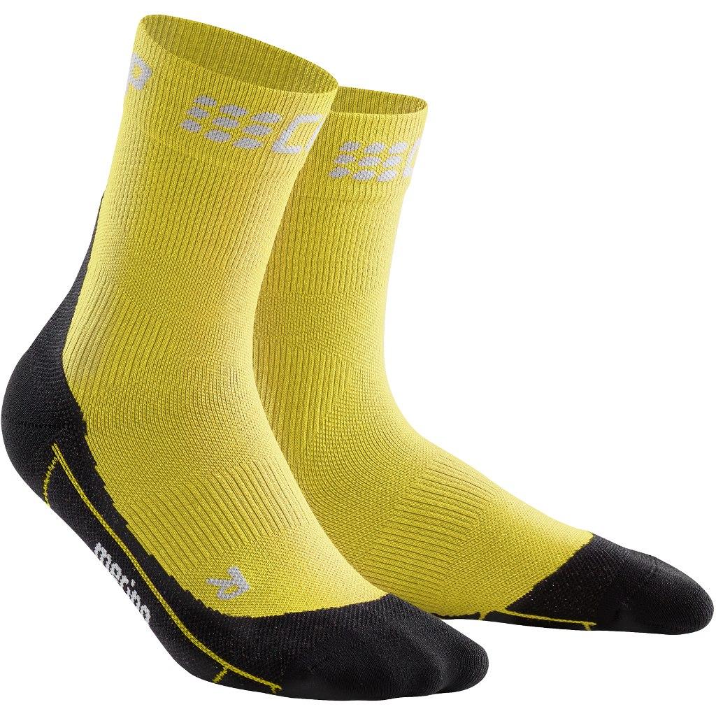 CEP Winter Run Short Socks Women - yellow/black