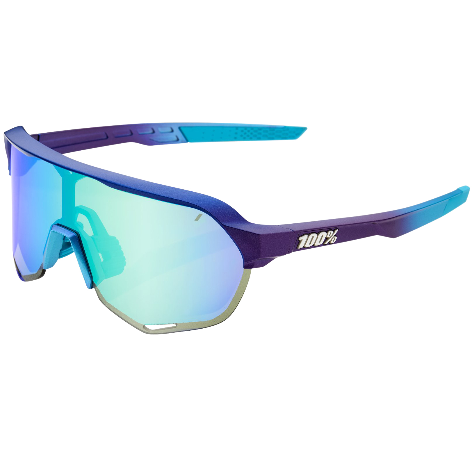 100% S2 Multilayer Mirror Lens Glasses - Matte Metallic Into the Fade/Blue Topaz + Clear