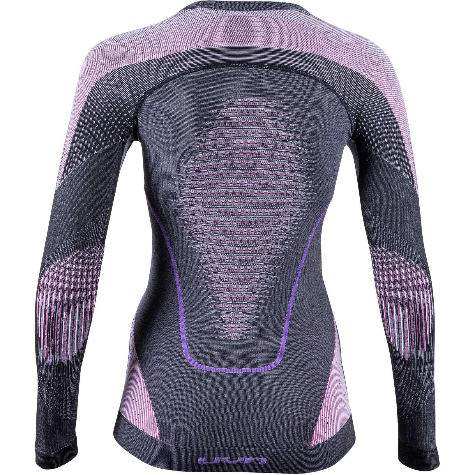 Image of UYN Evolutyon Melange Longsleeve Shirt Women - Anthracite Melange/Raspberry/Purple