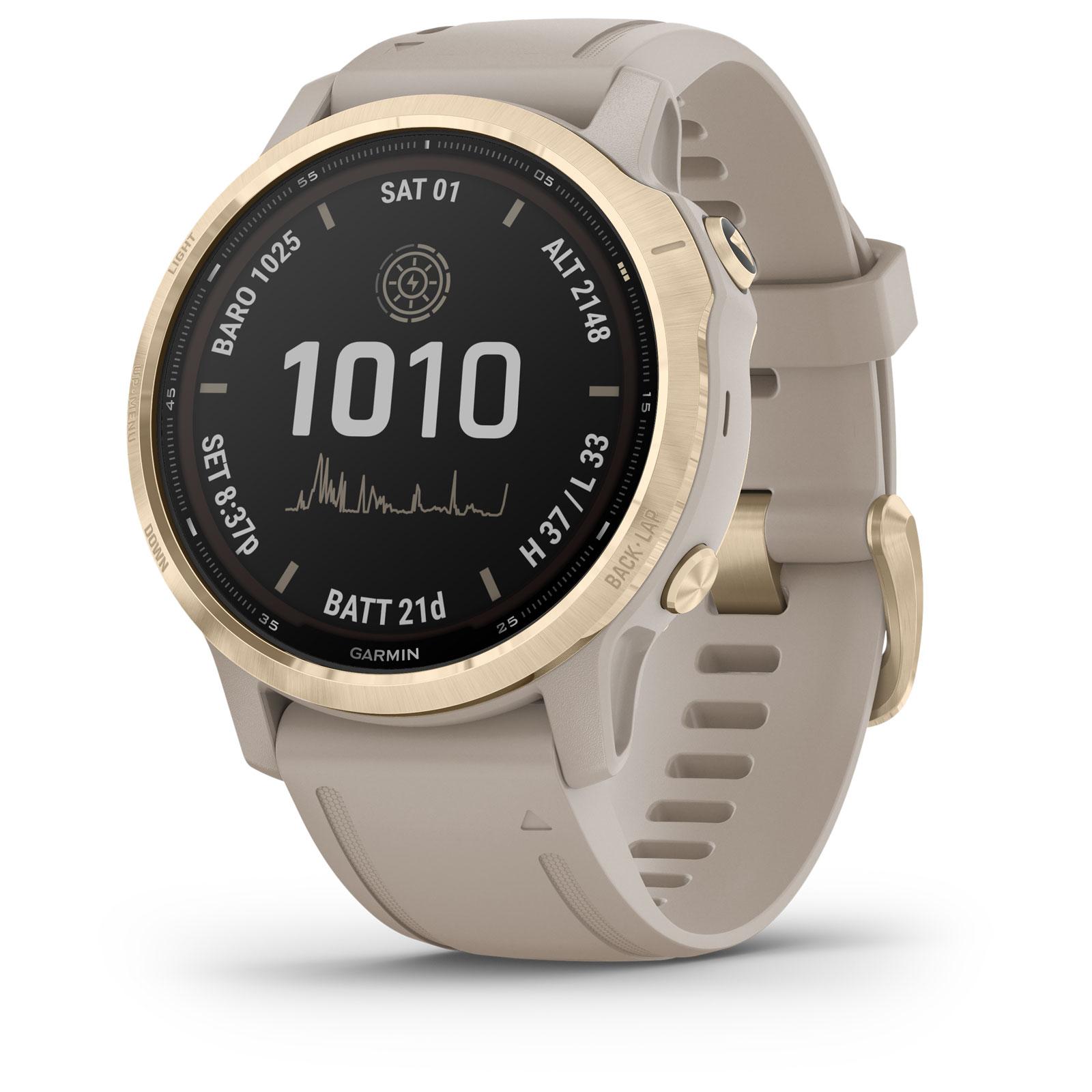 Produktbild von Garmin fenix 6s Pro Solar GPS Smartwatch - beige/weißgold