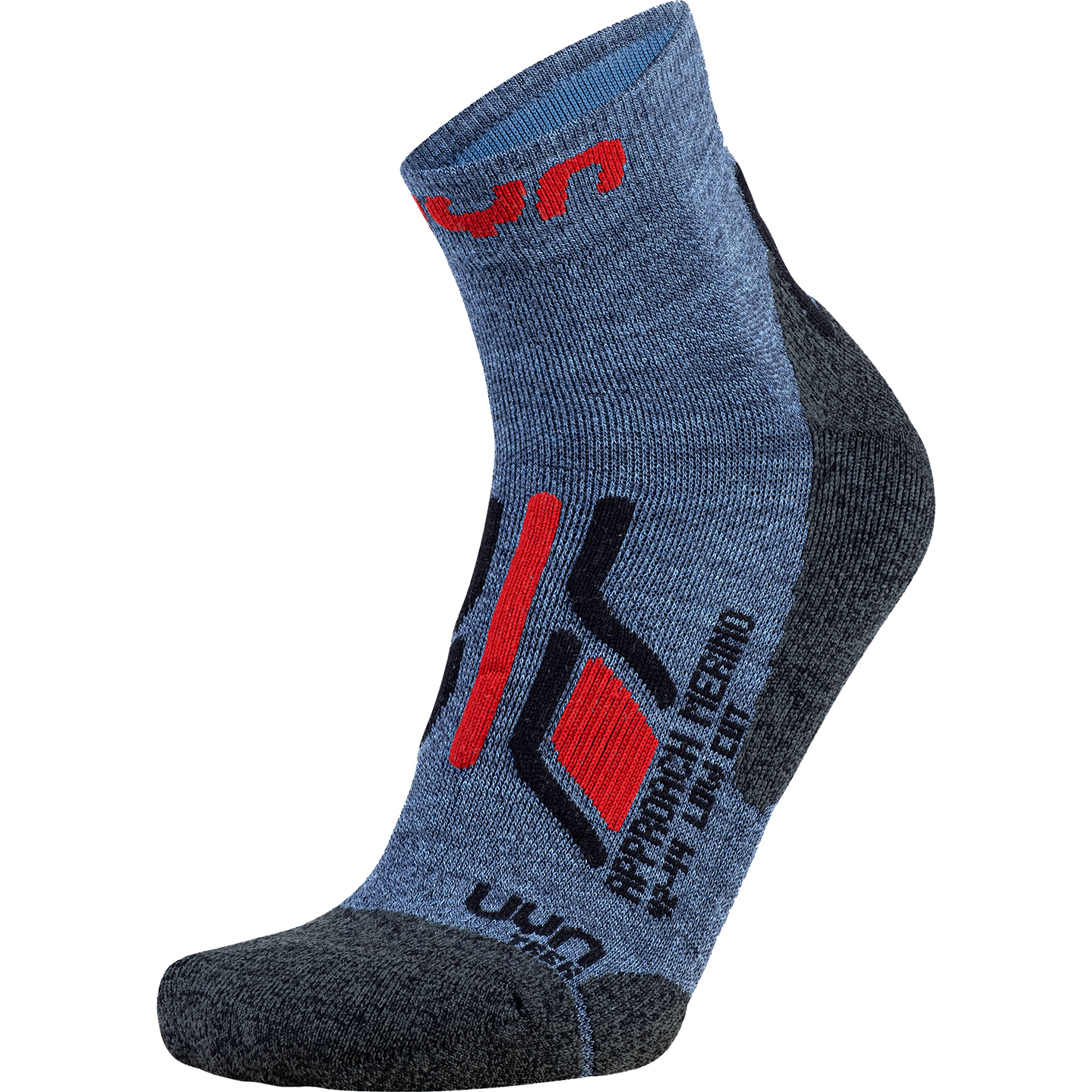 UYN Trekking Approach Merino Low Cut Socken - Jeans/Anthracite/Red