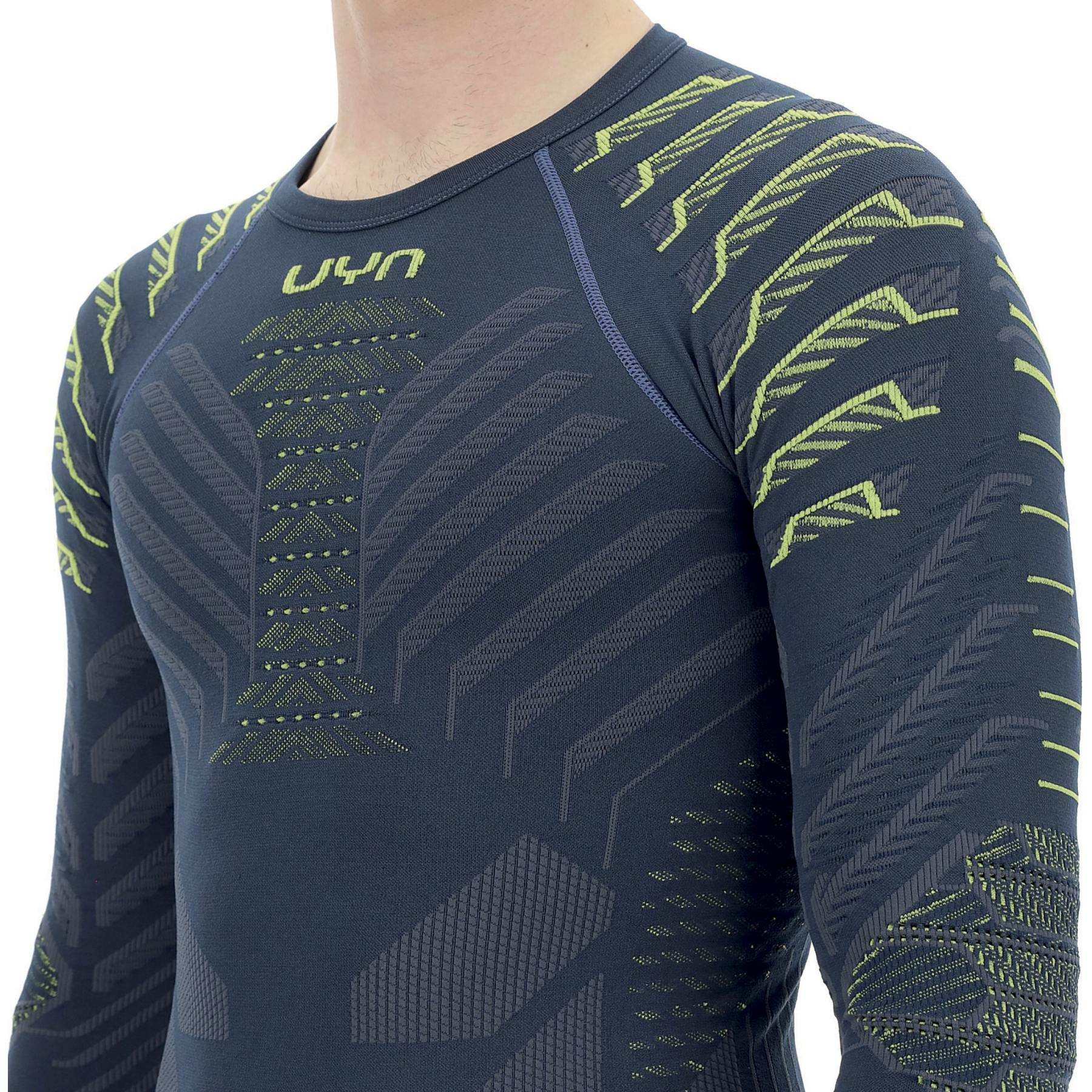 Image of UYN Resilyon Longsleeve Undershirt Round Neck - Dark Blue/Yellow