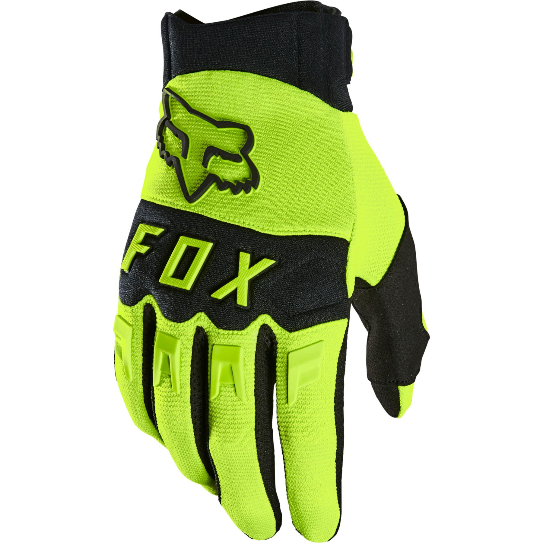 FOX Dirtpaw MTB Full Finger Gloves - flo yellow