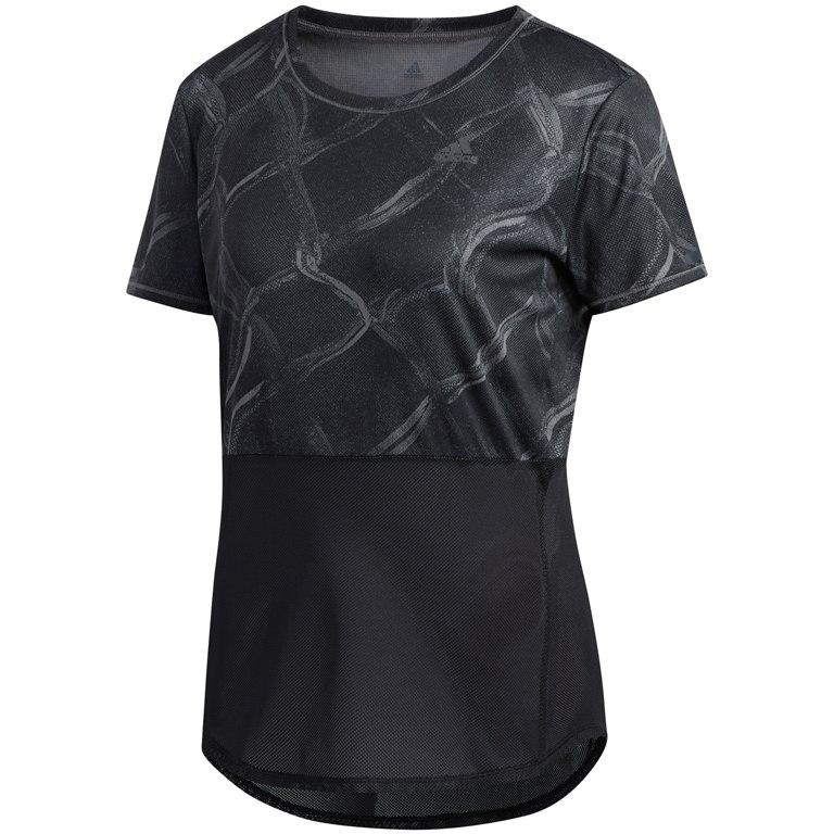 adidas Women's Own the Run Fences Tee - grey five/black EI0829