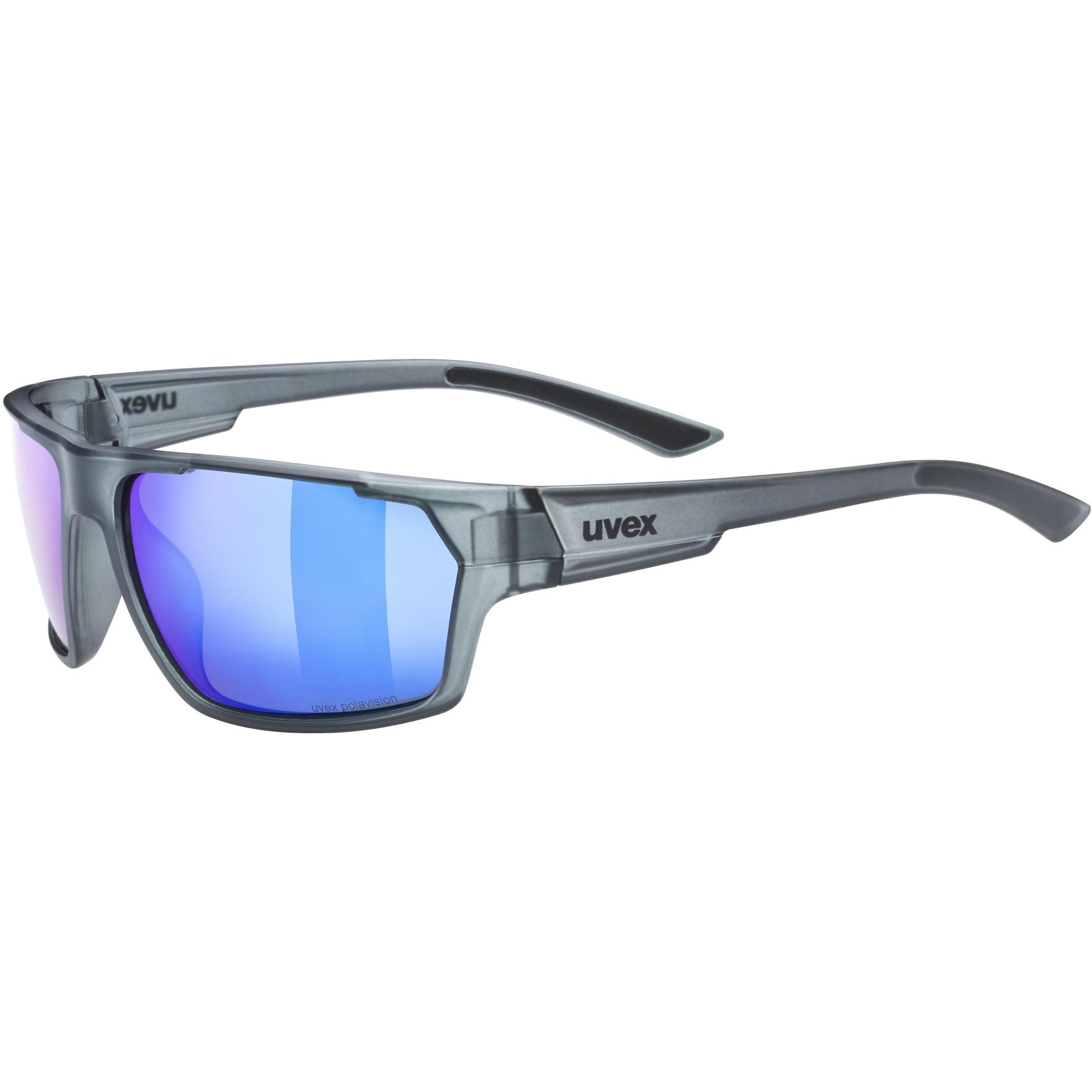 Uvex sportstyle 233 P Glasses - smoke mat/polavision mirror blue