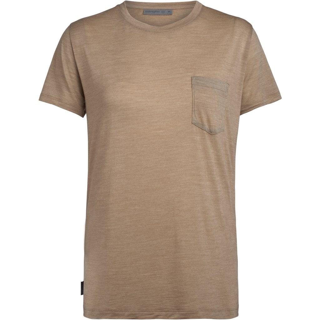 Icebreaker Nature Dye Drayden Pocket Crewe Damen T-Shirt - Almond