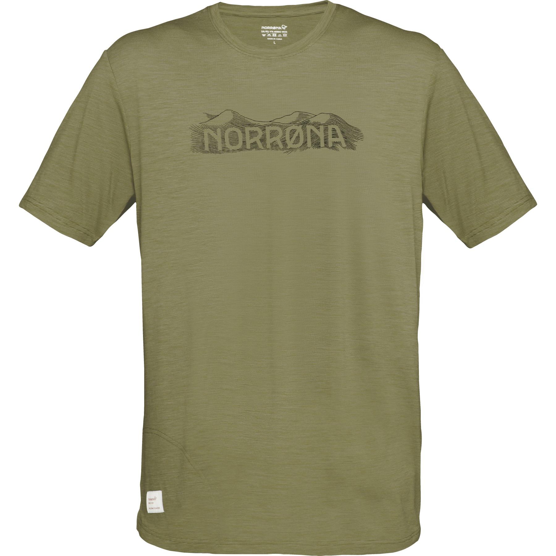 Norrona svalbard Wool T-Shirt Men - Olive Drab/Caviar