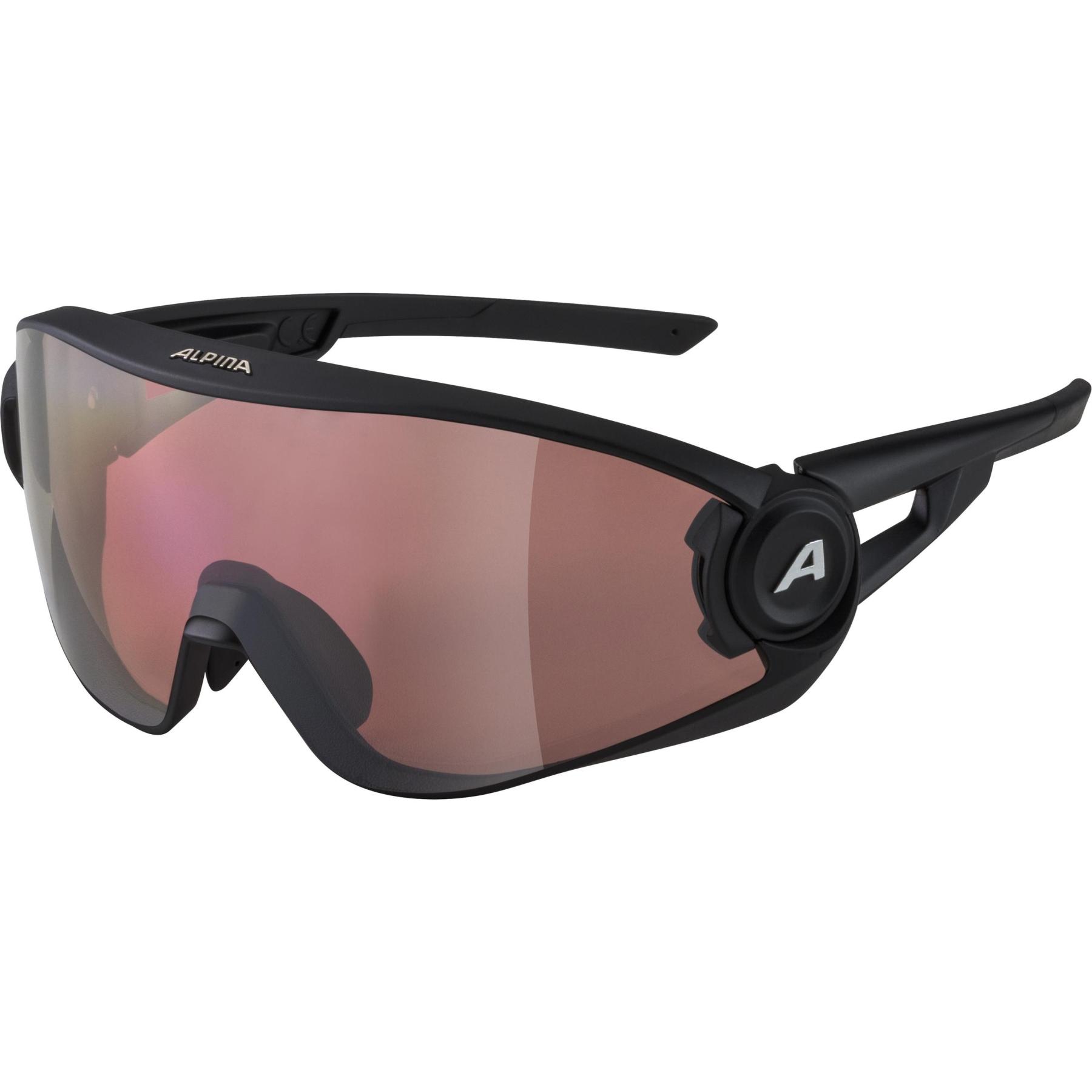 Alpina 5W1NG Q+CM Glasses - black matt / Quattroflex+ blue mirror