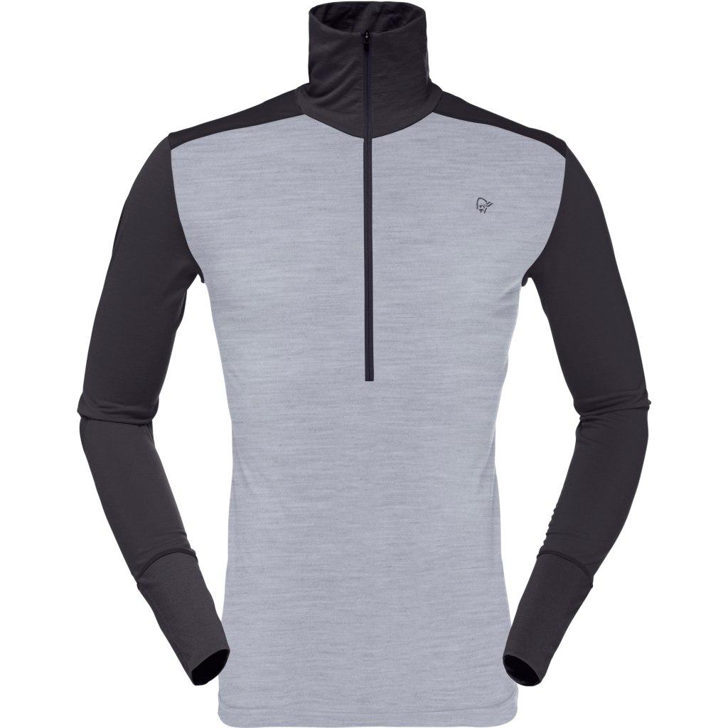 Norrona wool Zip Neck Camiseta manga larga para hombres - Mid Grey