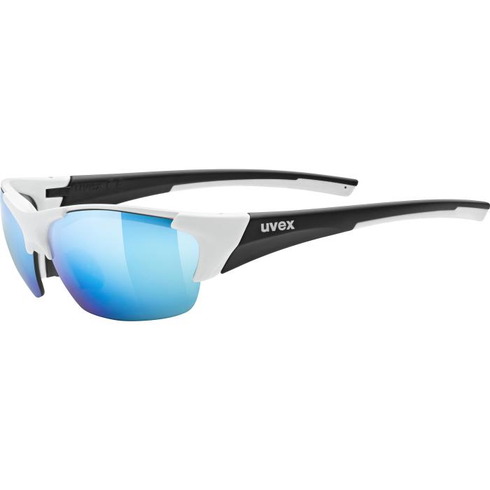 Uvex blaze III Glasses - white black mat/mirror blue + litemirror orange + clear