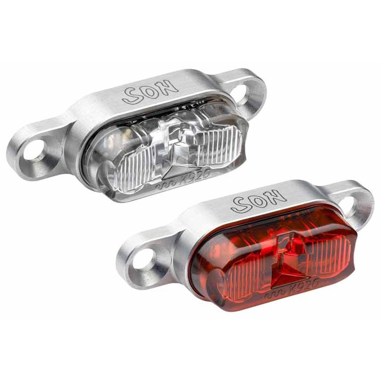 SON Rear Light for Carrier Mounting - silver