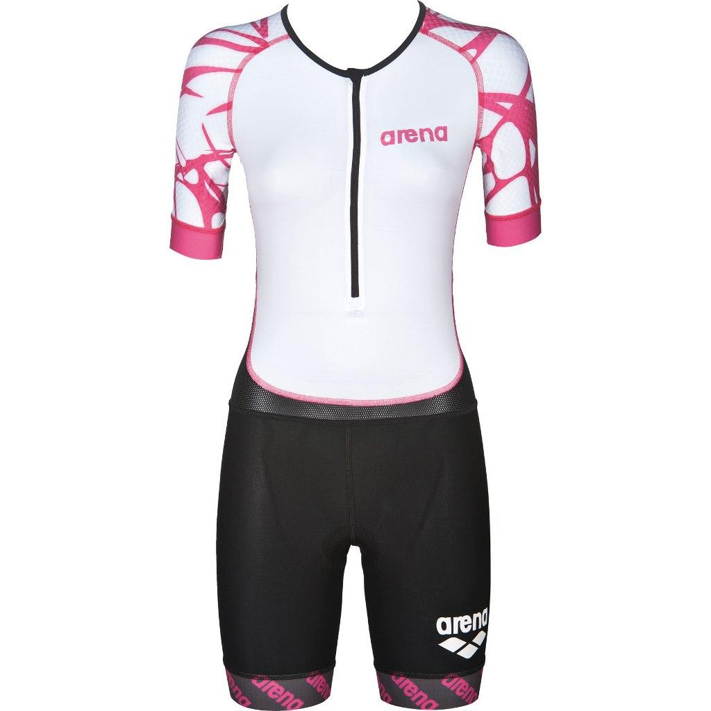 arena Trisuit ST Aero Front Zip Women - black/white/furchsia