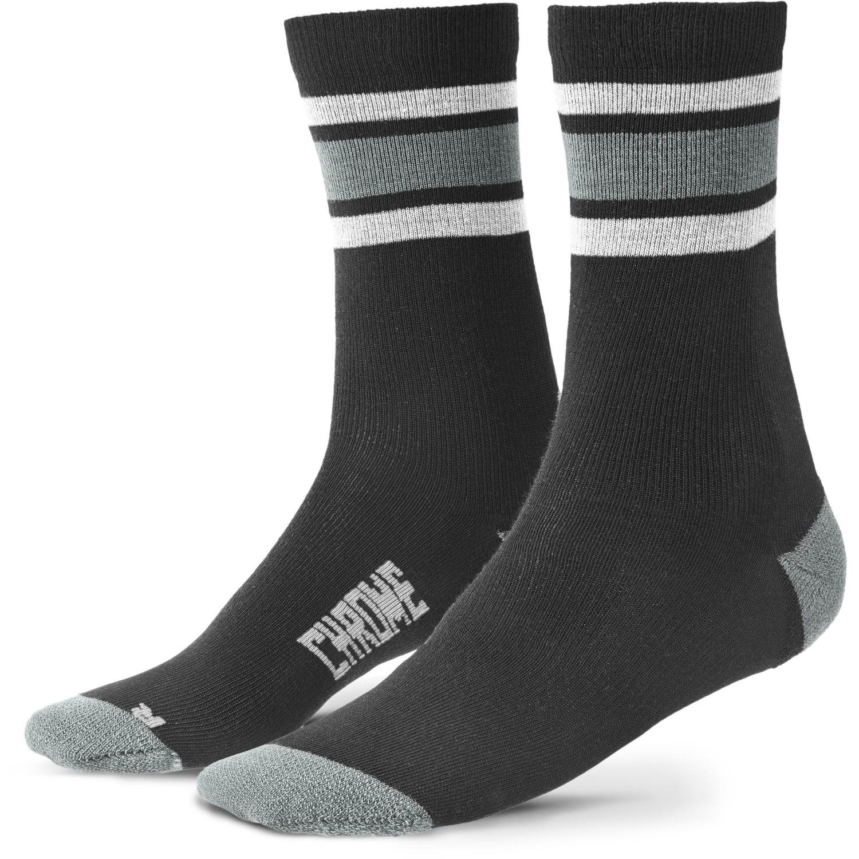 CHROME Stripe Crew Merino Socks - black / castle rock