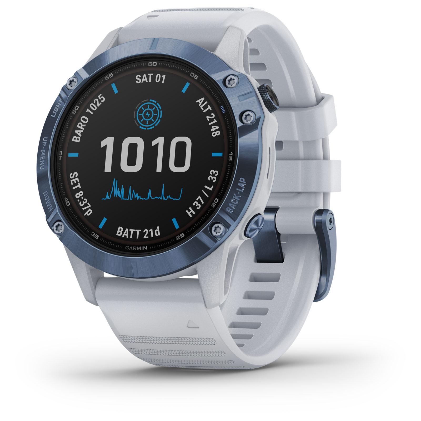 Garmin fenix 6 Pro Solar GPS Smartwatch - steinweiß/blau Titan
