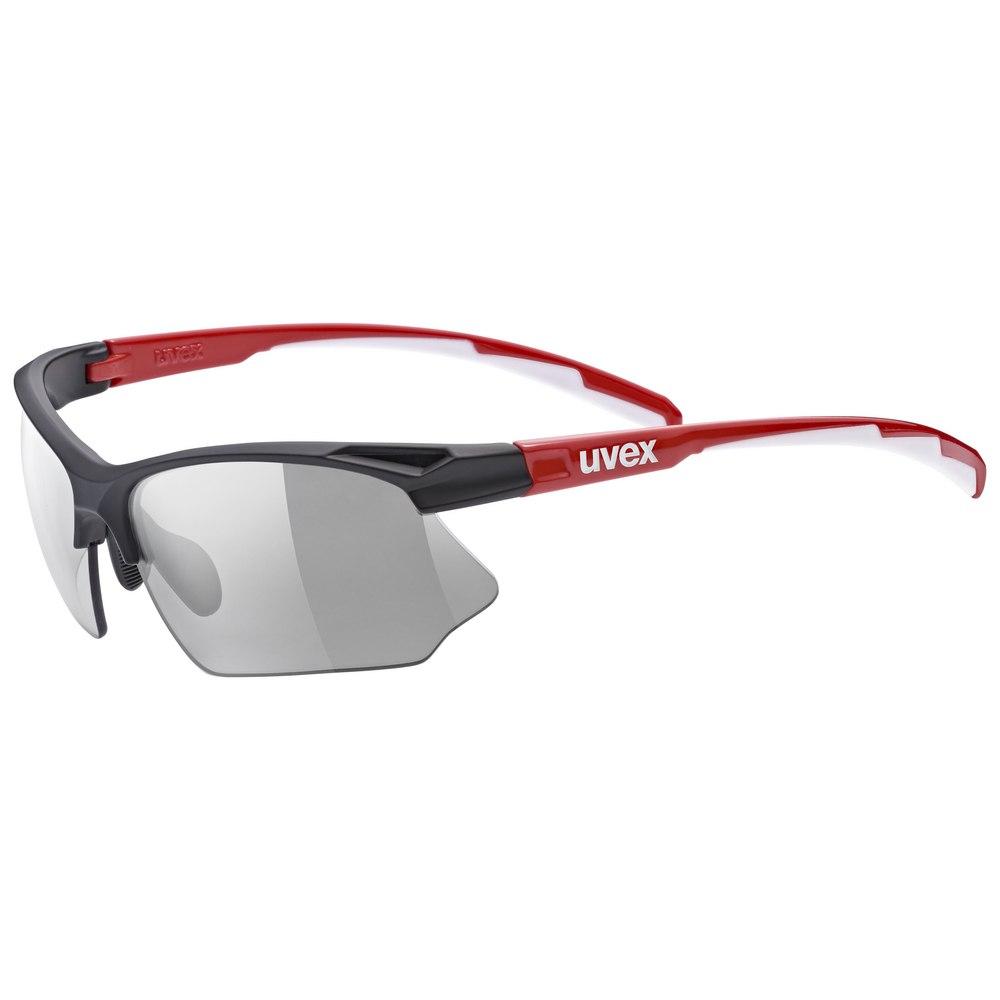 Uvex sportstyle 802 V Glasses - black red white/variomatic smoke