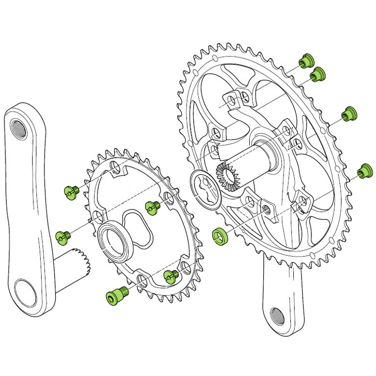 Image of Campagnolo FC-SR100 / FCAT300 Chainring Bolts Set