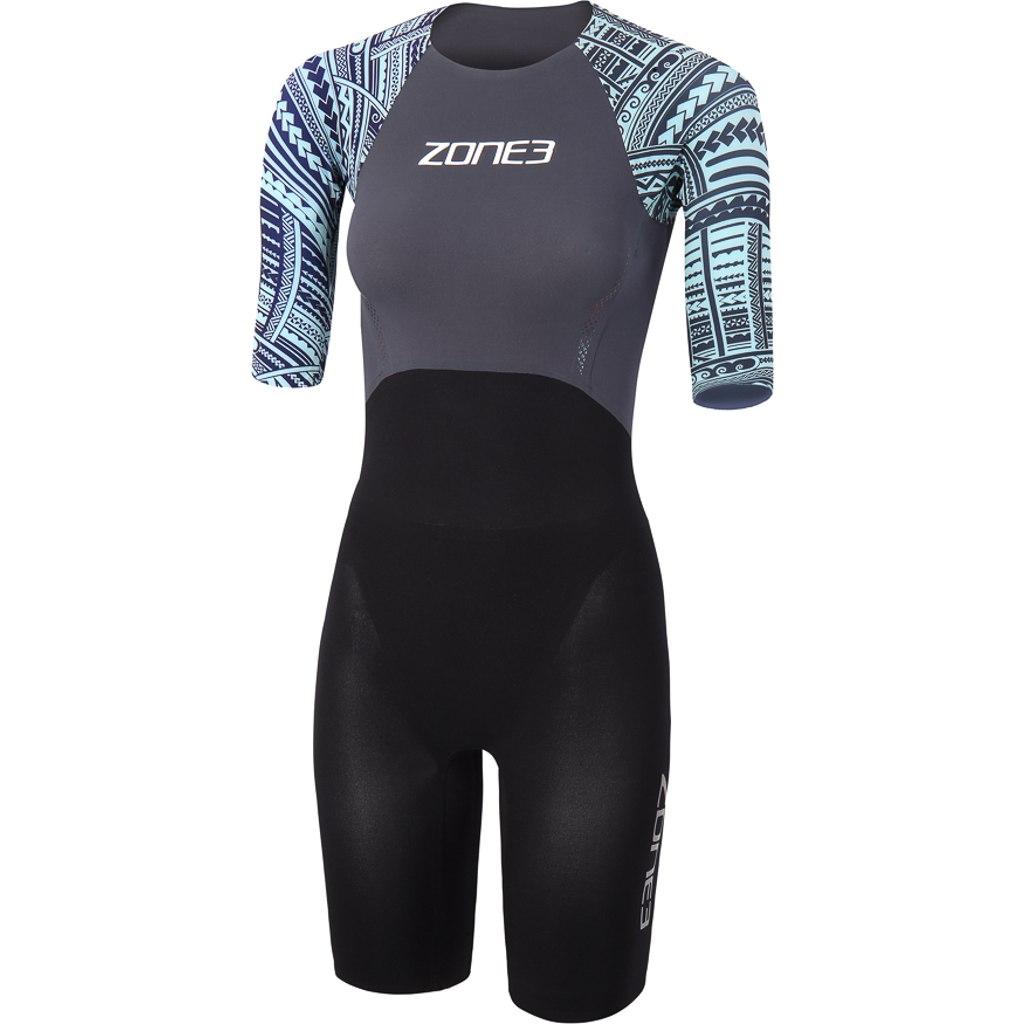 Zone3 WTC Ironman legal Kona Damen Kurzarm Schwimmanzug - black/grey/turquoise