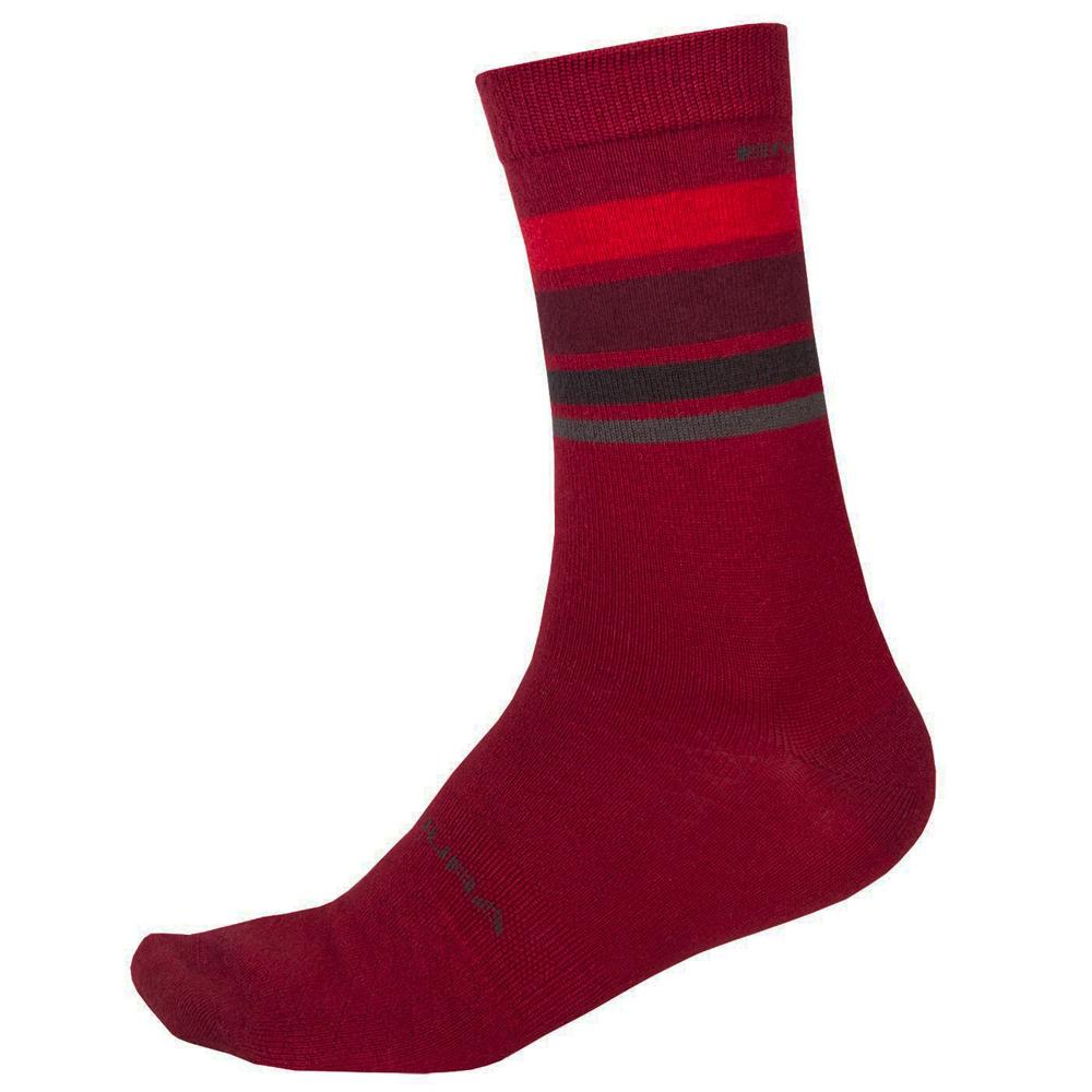 Endura BaaBaa Merino Stripe Socks - rust red