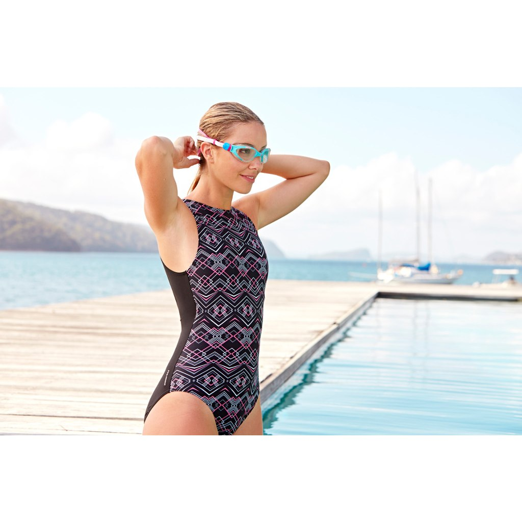 Image of Zoggs Electric Hi Front Swimsuit - multi/black