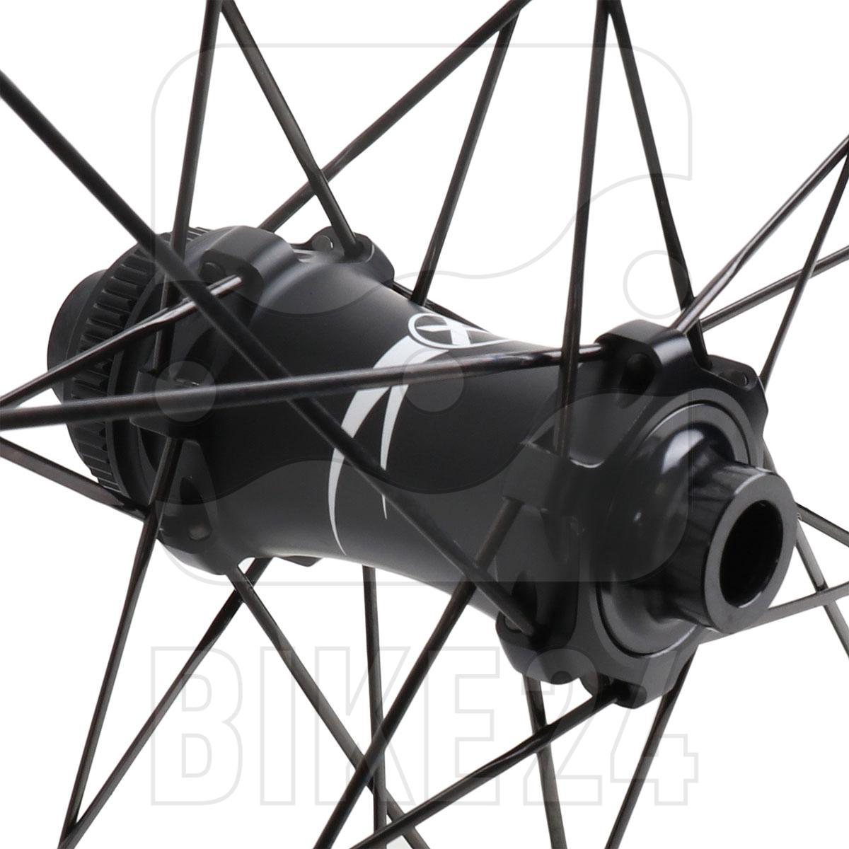 Bild von Xentis Squad 4.2 SL Tubeless Ready Scheibenbremse - Carbon Laufradsatz - Drahtreifen - Centerlock - VR: 12x100mm | HR: 12x142mm - SRAM XDR - matt schwarz / weiß