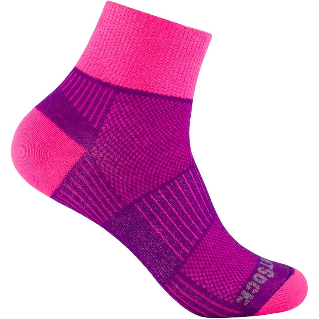 WRIGHTSOCK Coolmesh II Quarter Double Layer Socks - plum-pink - 805-64