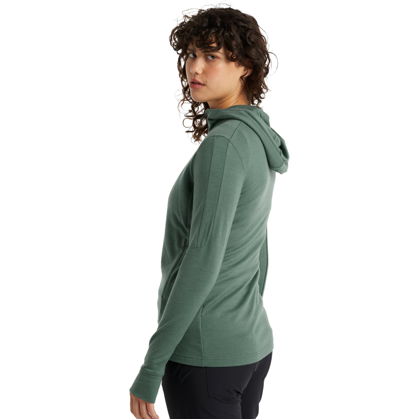 Bild von Icebreaker Quantum III Long Sleeve Zip Hood Damen Midlayer Jacke - Sage