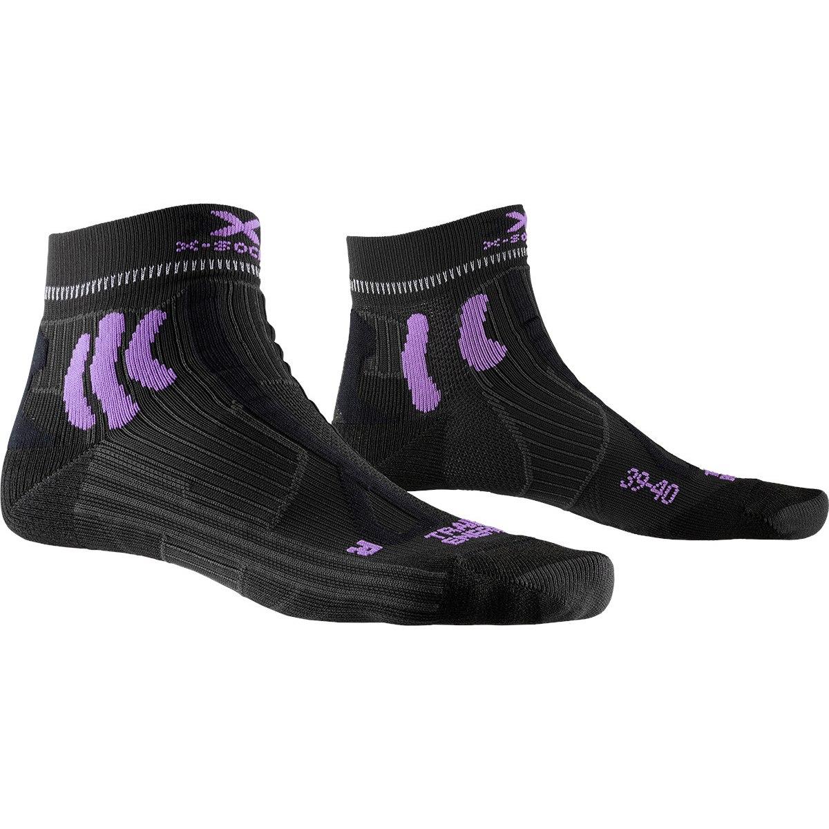 X-Socks Trail Run Energy Damen-Laufsocken - charcoal/bright lavender/pink