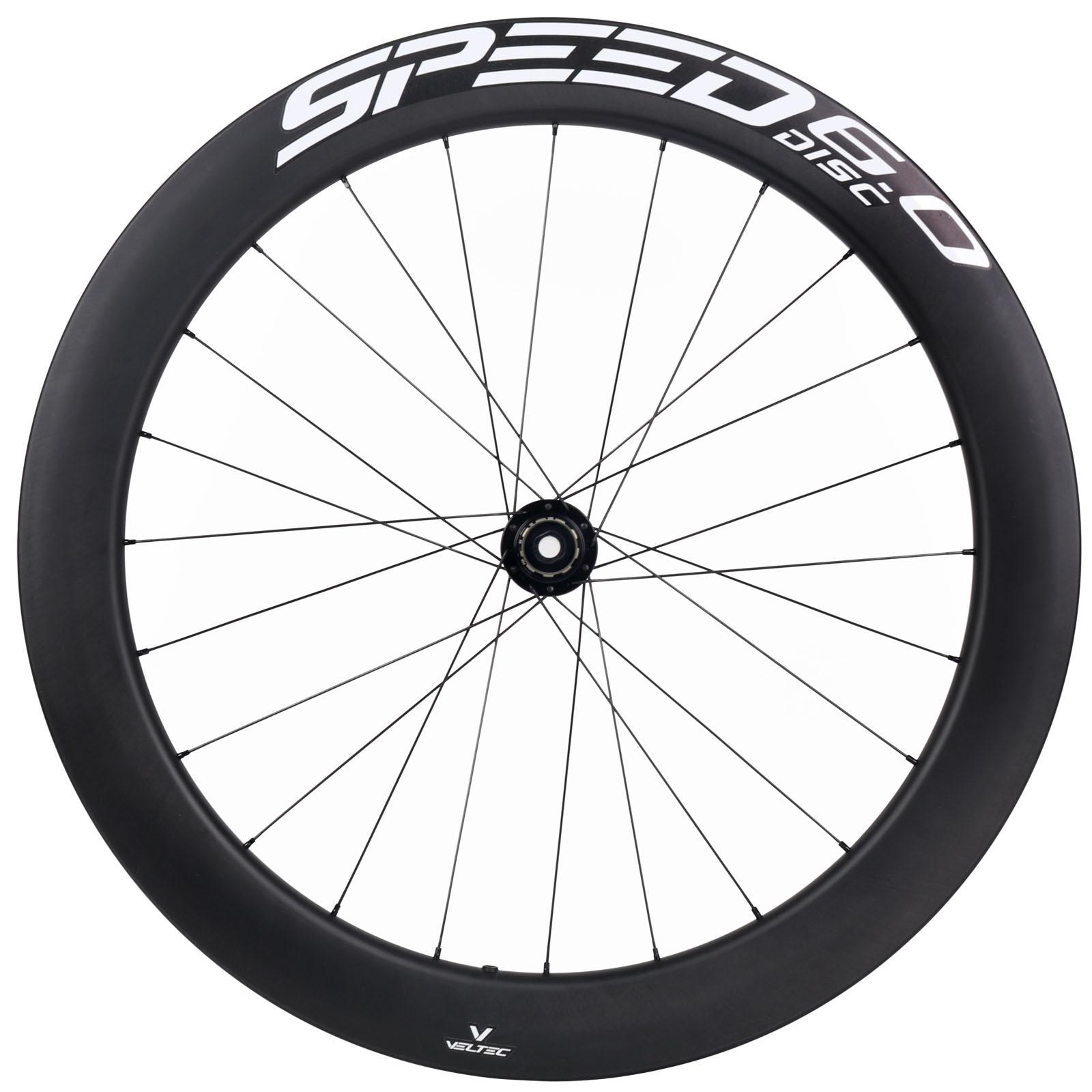 Veltec Speed 6.0 Disc Carbon Hinterrad - Drahtreifen - 12x142mm - schwarz mit weißen Decals
