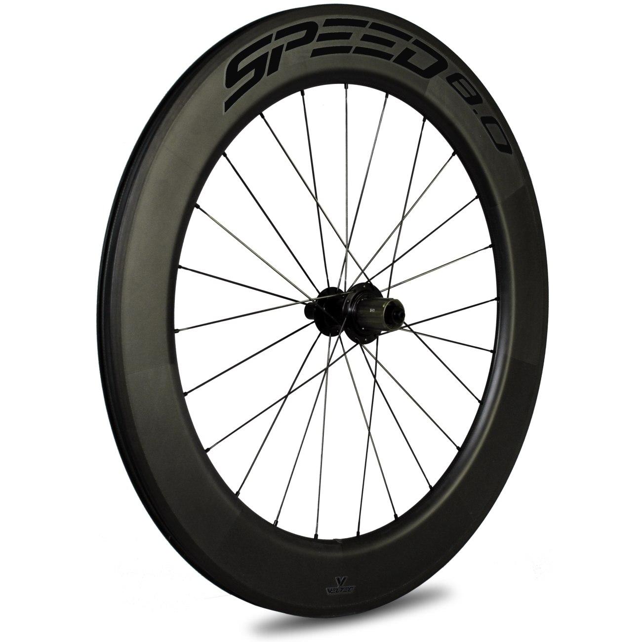 Veltec Speed 8.0 Carbon Hinterrad - Drahtreifen - QR130 - schwarz mit schwarzen Decals