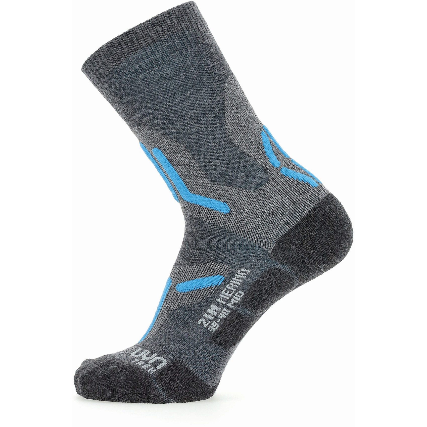 Image of UYN Trekking 2In Merino Mid Cut Socks Women - Mid Grey/Turquoise