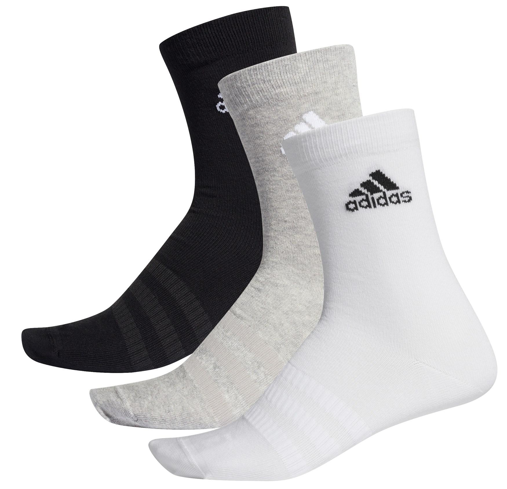 adidas Light Crew Socks 3 Pairs - medium grey heather/white/black DZ9392