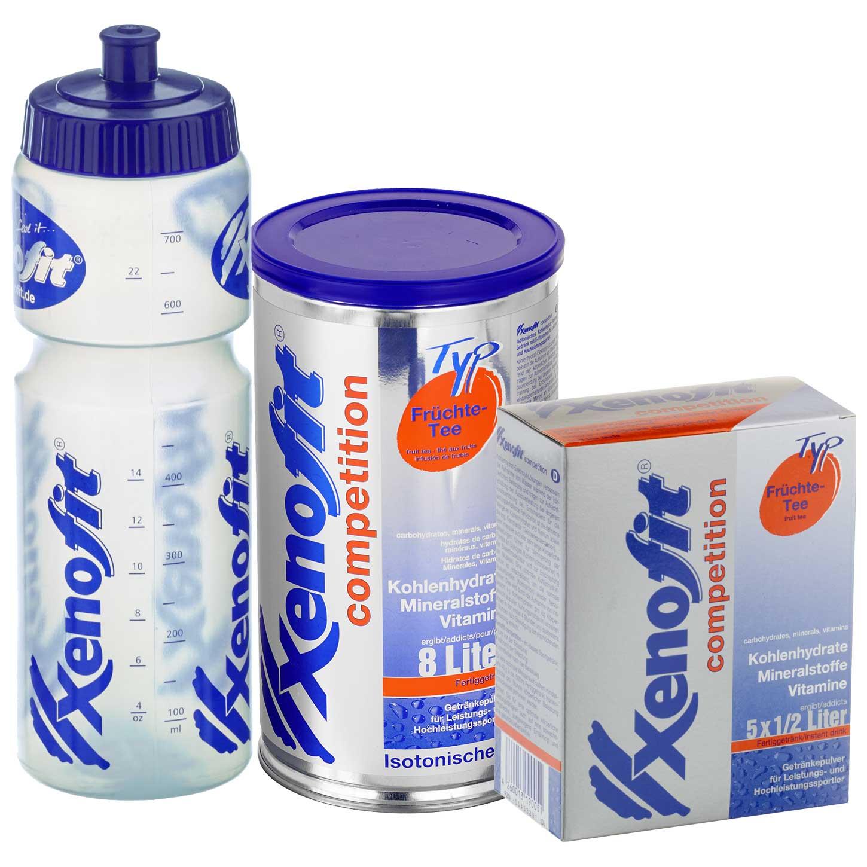 Xenofit Competition Früchte-Tee - Isotonisches Kohlenhydrat-Getränk - Vorteilspack + Trinkflasche