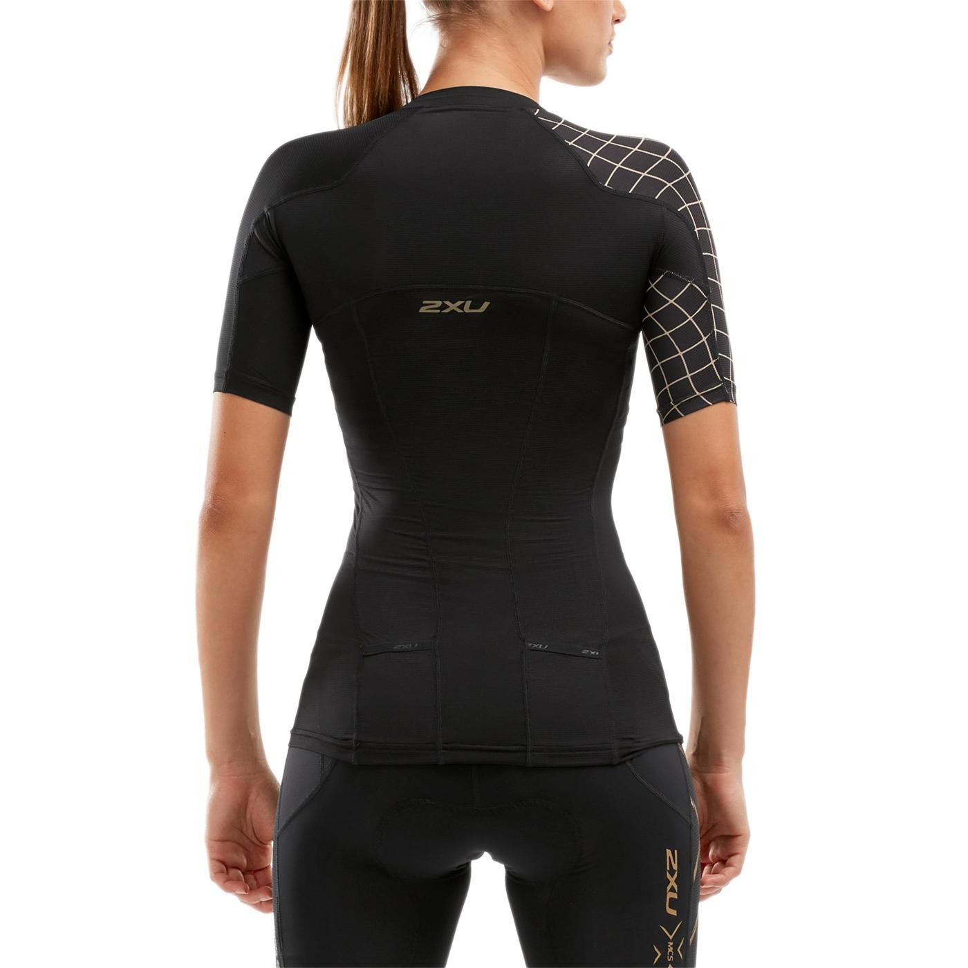 Imagen de 2XU Compression Sleeved Camiseta para mujer - black/gold