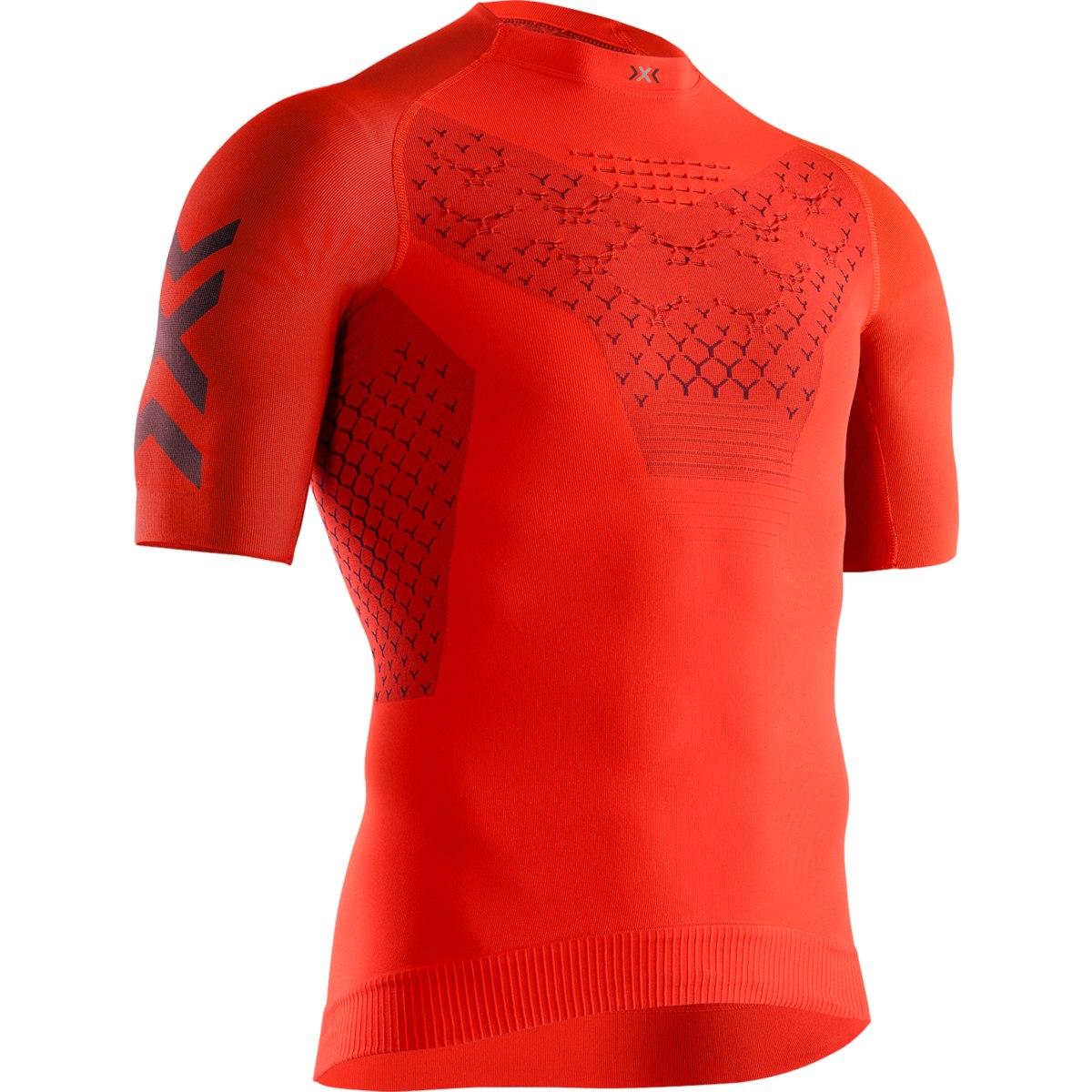 X-Bionic TWYCE 4.0 Run Shirt Short Sleeves for Men - sunset orange/teal blue