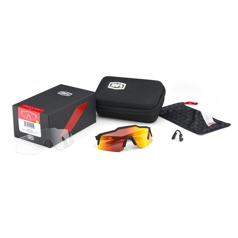 Imagen de 100% Speedcraft - XS - HiPER Gafas - Soft Tact Black/HiPER Red Multilayer Mirror + Clear