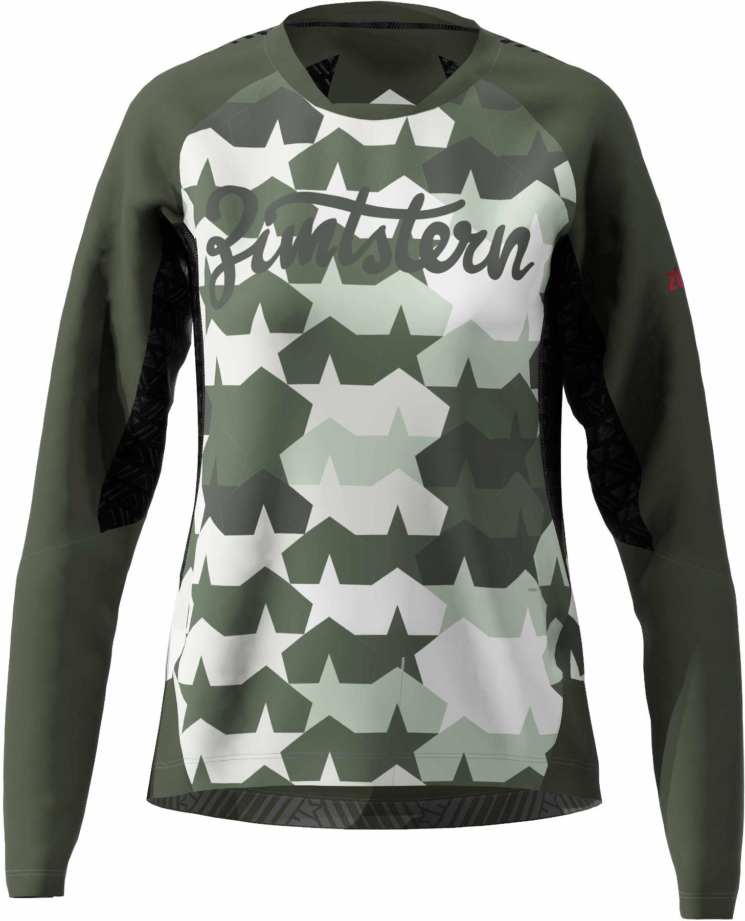 Zimtstern TechZonez MTB-Langarmshirt für Damen - fog green/forest night/jester red