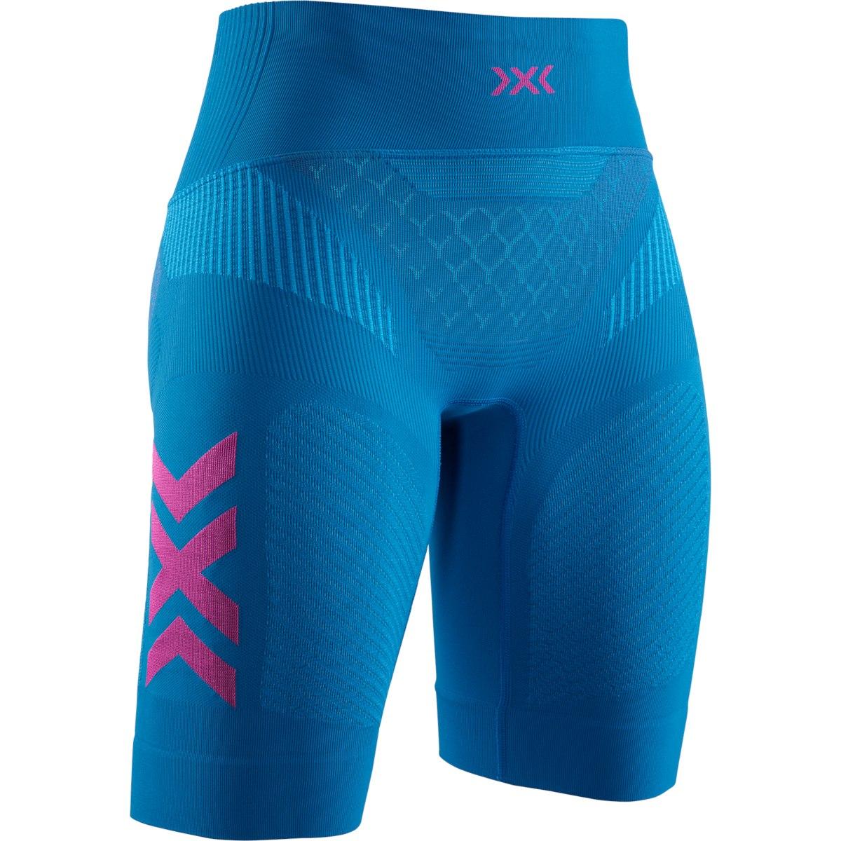 Image of X-Bionic TWYCE 4.0 Run Shorts for Women - teal blue/neon flamingo