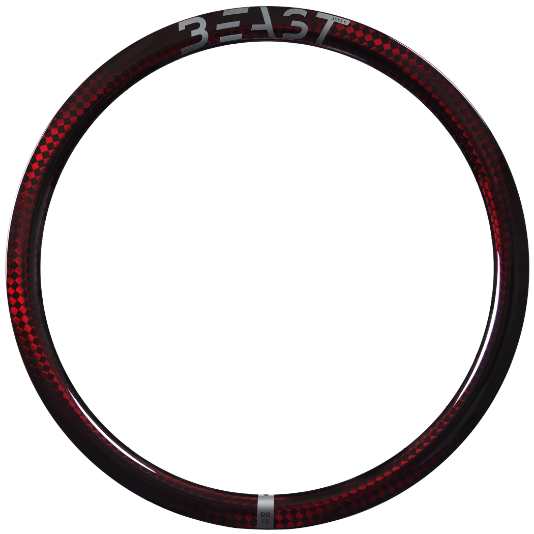 Image of Beast Components RR40 Carbon Disc Clincher Rim - 20-622 - 24 Hole - SQUARE red