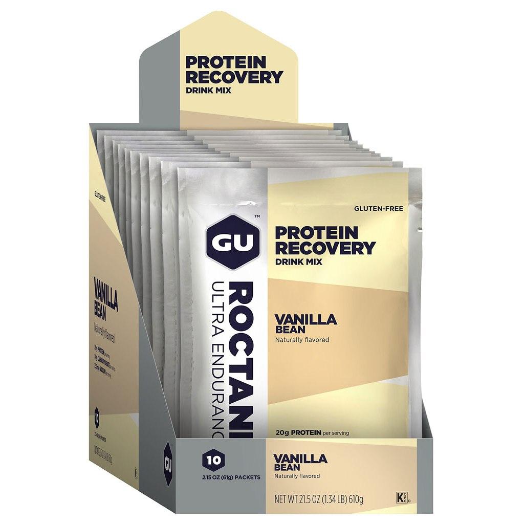 GU Roctane Recovery Protein Drink Mix (Vanilla Bean) - Beverage Powder - 10x61g
