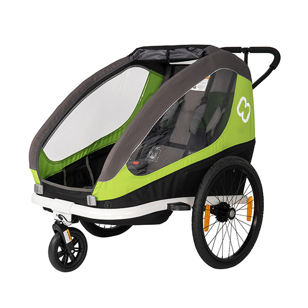 Picture of Hamax Traveller Bike Trailer for 2 Kids, incl. drawbar and buggy wheel - green/grey