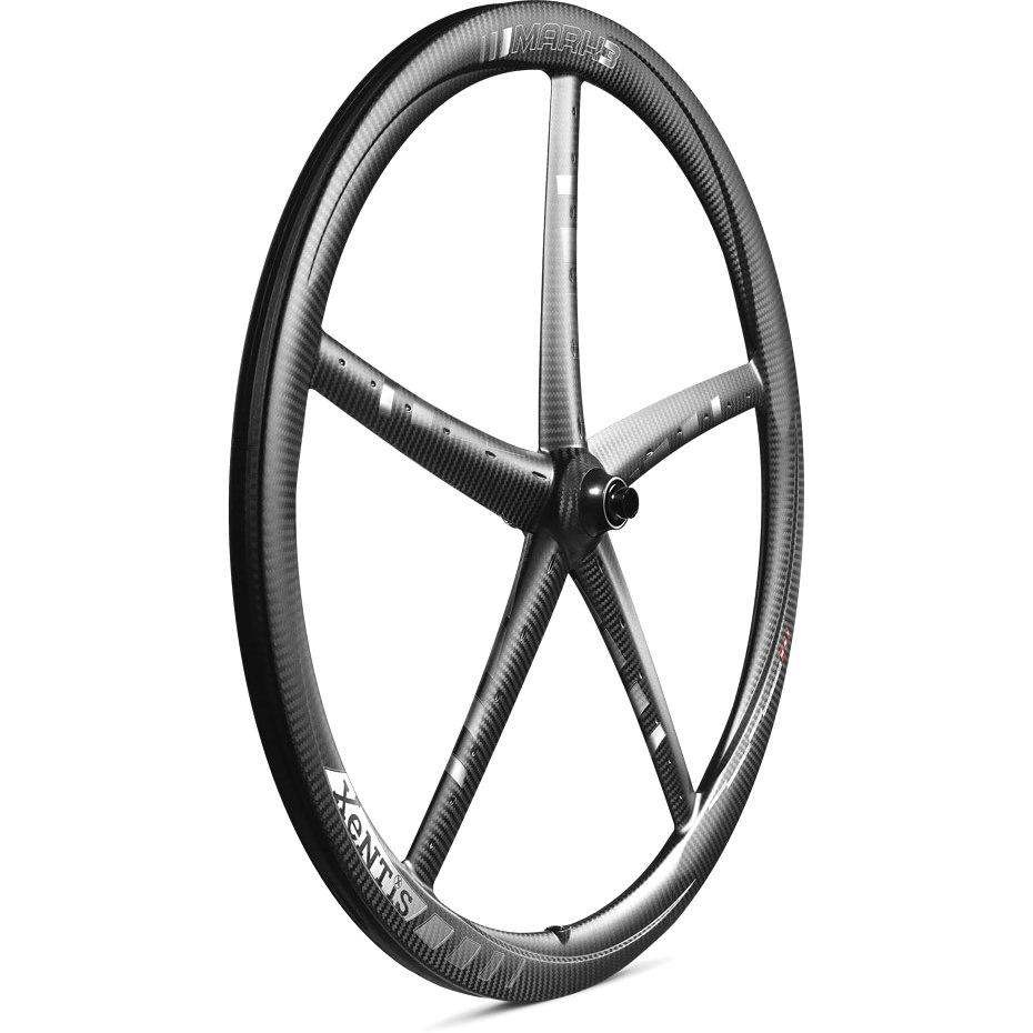 Bild von Xentis Mark 3 Carbon Vorderrad für Schlauchreifen - Centerlock - 12x100mm - matt schwarz / weiß
