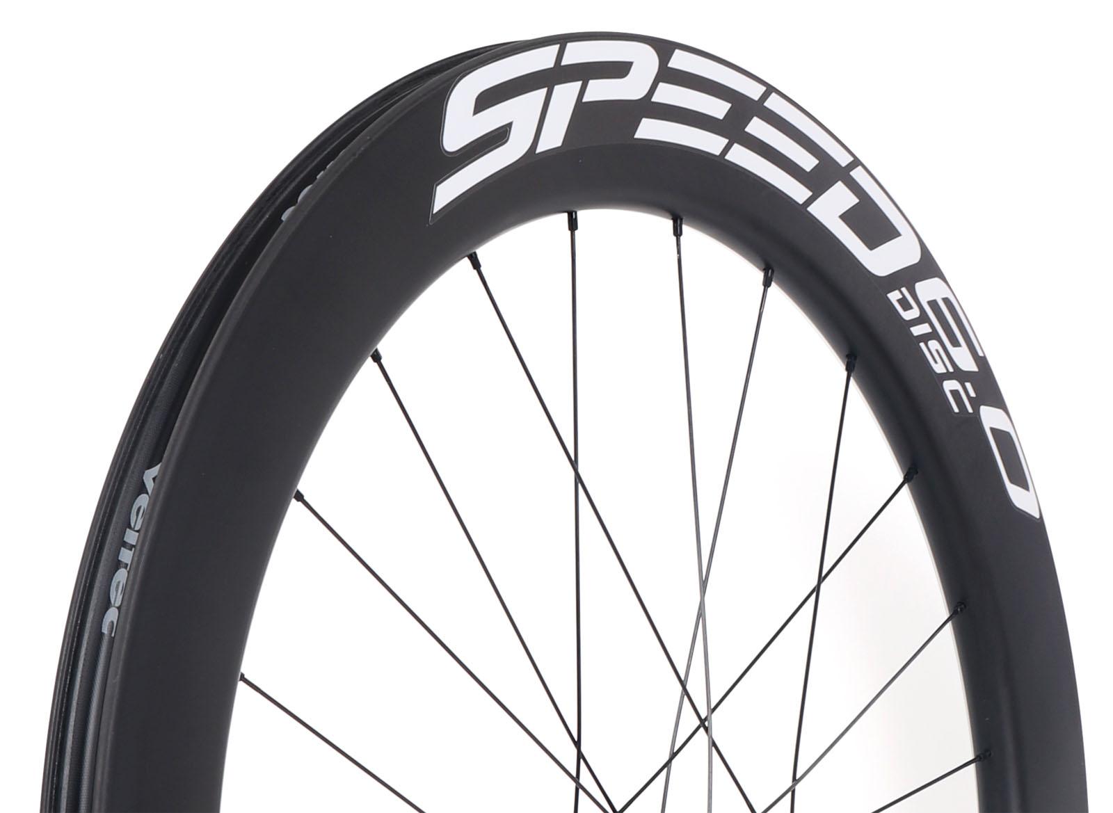 Bild von Veltec Speed 6.0 Disc Carbon Hinterrad - Drahtreifen - 12x142mm - schwarz mit weißen Decals