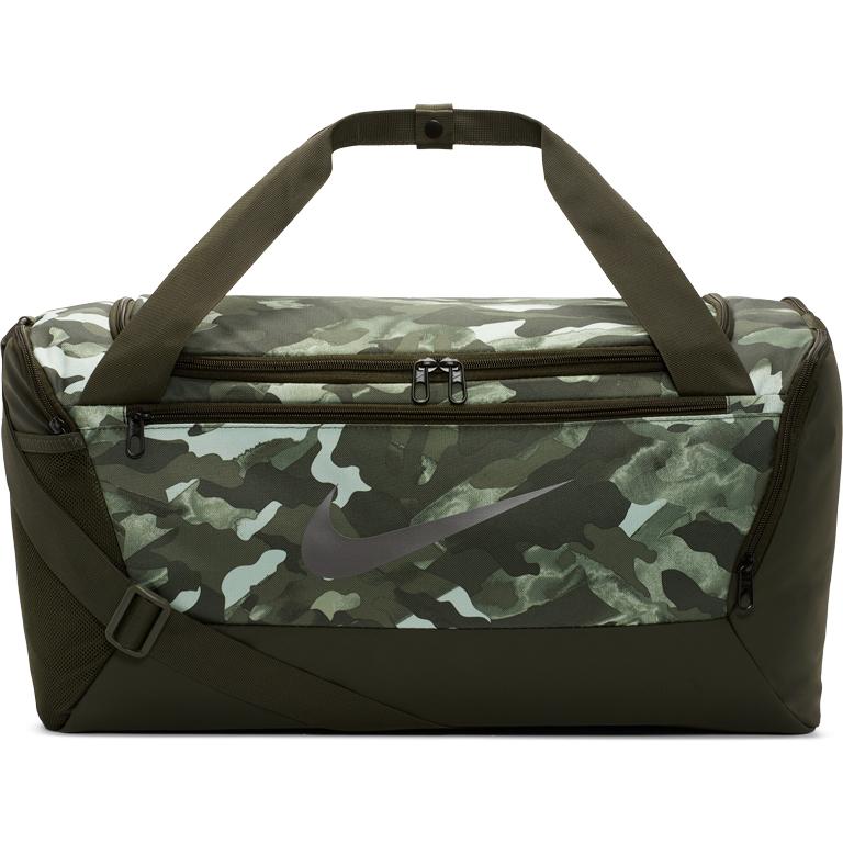 Picture of Nike Brasilia Printed Training Duffel Bag (Small) - white/sequoia/metallic cool grey BA6219-100